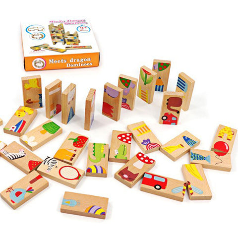 28 PCS Animal Blocks/  Wood Dominoes