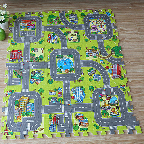 Baby Traffic Route Puzzle Rug Play Mat