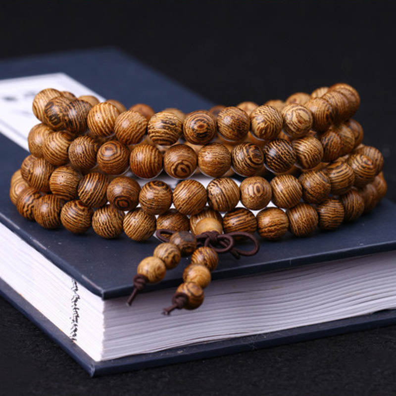 108 Beads Wenge Prayer Bracelet Mala Wooden Rosary