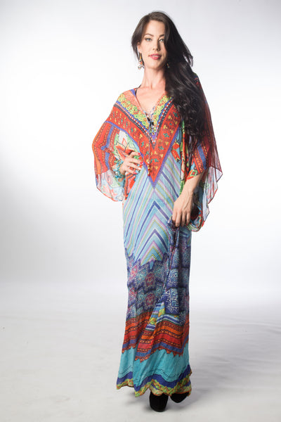 EMBELLISHED KAFTAN LONG LACE UP