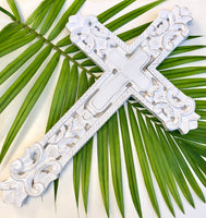 Solid Timber Carved Cross Whitewash