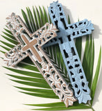 Solid Timber Carved Cross Blue