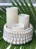 Macrame And Shell Candle Holder H