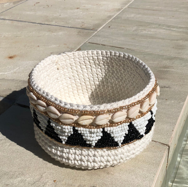 Macrame And Shell Candle Holder A