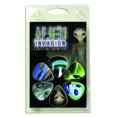 1AIVRCS Hot Picks Alien Invasion Assorted Picks 6 Picks Clamshell