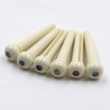 A021IVY-S Fat Boy 6-Piece Bridge Pins Shell Dot (Ivory)