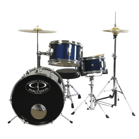 GP50MRB GP Percussion 3 Piece Junior Drum Set (Metallic Royal Blue)