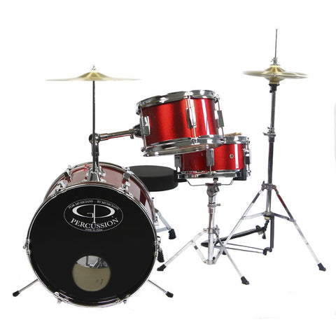 GP50RD GP Percussion 3 Piece Junior Drum Set (Red)