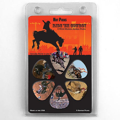 1RCRCS Hot Picks Ride 'Em Cowboy Collectible Guitar Picks 6 Pack