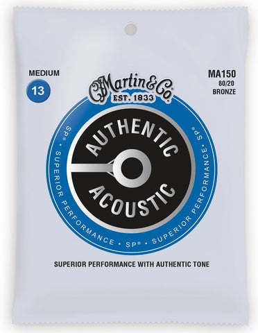 MA150-U Martin Authentic 80/20 Bronze Medium Gauge Acoustic Strings