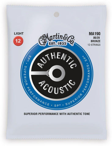MA190-U Martin Authentic 80/20 Bronze Light Gauge 12 String Acoustic Set