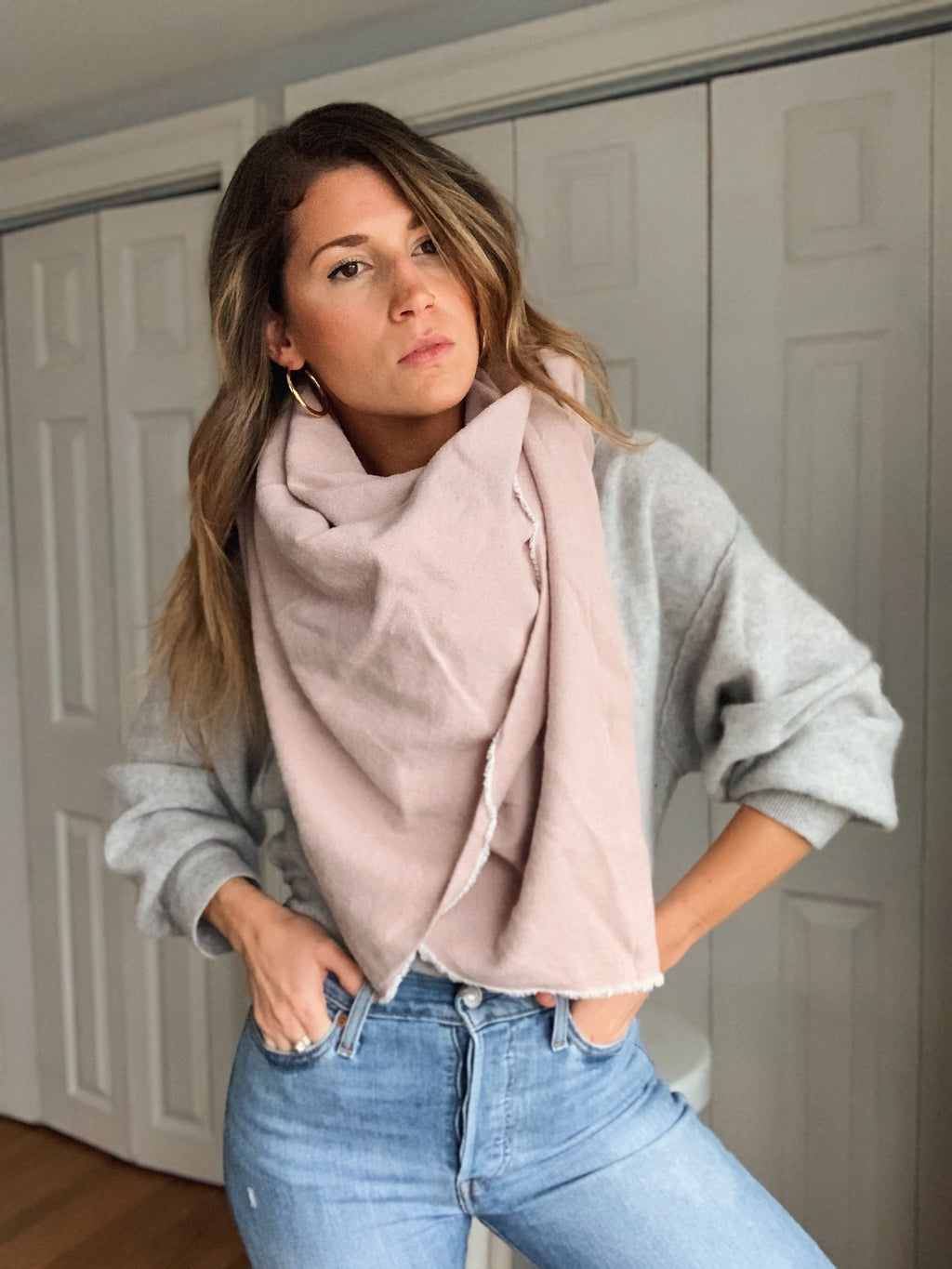 Sheet Scarf //  Muted Pink Herringbone