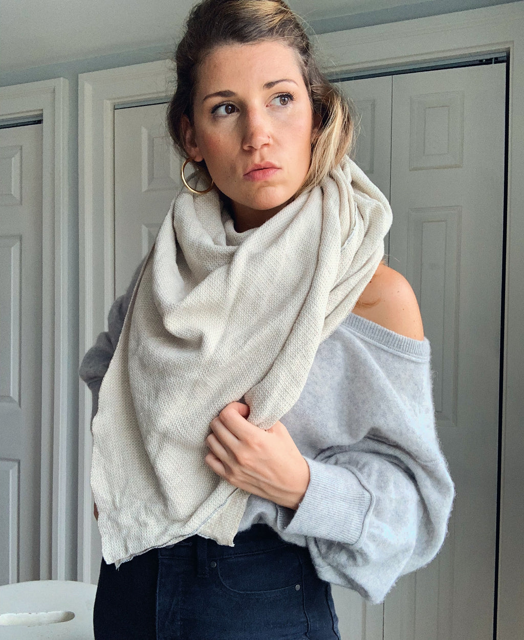 Sheet Scarf // Oversized // Oatmeal