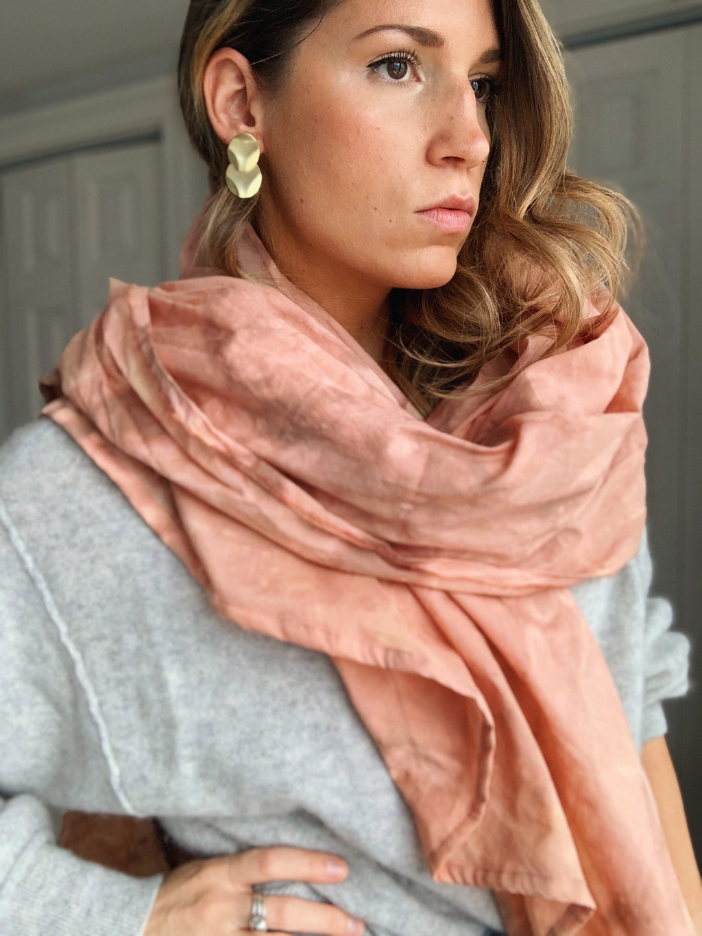 Sheet Scarf //  Cloudy Mauved Citrus