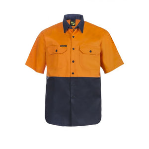 HI VIS TWO TONE SHORT SLEEVE COTTON DRILL SHIRT WS3023