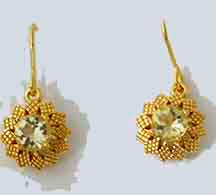 Earrings,92.5 Silver Flower Earrings- Gold Plated - Buff Top Lemon Quartz Gemstone