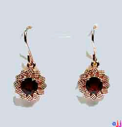 Earrings,92.5 Silver Flower Earrings- Rose Gold Plated - Garnet Gemstone
