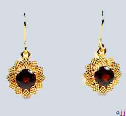 Earrings,92.5 Silver Flower Earrings- Gold Plated - Buff Top Garnet Gemstone