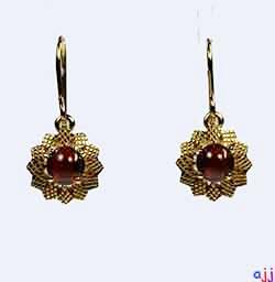 Earrings,92.5 Silver Flower Earrings- Gold Plated - Cabochon Garnet Gemstone