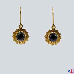 Earrings,92.5 Silver Flower Earrings- Gold Plated -Checkered Board Black Spinel Gemstone