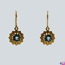 Earrings,92.5 Silver Flower Earrings- Gold Plated - Buff Top Blue Topaz Gemstone