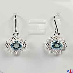 Earrings,92.5 Silver Flower Pendant- Silver Plated, Blue Topaz Gemstone