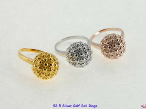 92.5 Solid Silver Golf Ball Ring