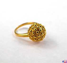 Ring, 92.5 Solid Silver Golf Ball Ring- Gold Plated