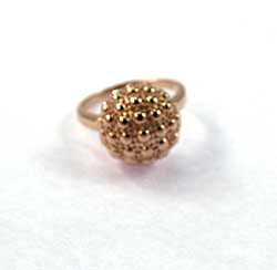 Ring, 92.5 Solid Silver Golf Ball - Rose Gold Plated