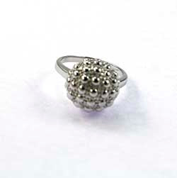Ring, 92.5 Solid Silver Golf Ball Ring - Silver Plated