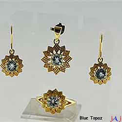 92.5 Silver, Flower shape Gold Plated Jewelry Set (Ring,Pendant,Earrings),Blue Topaz