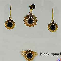 92.5 Silver, Flower shape Gold Plated Jewelry Set (Ring,Pendant,Earrings),Black Spinel