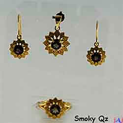 92.5 Silver, Flower Gold Plated Jewelry Set (Ring,Pendant,Earrings),Buff Top Smoky Qz