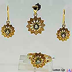 92.5 Silver, Flower Gold Plated Jewelry Set (Ring,Pendant,Earrings), Buff Top Lemon Qz