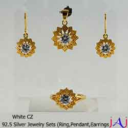 92.5 Silver, Flower Gold Plated Jewelry Set (Ring,Pendant,Earrings), White CZ