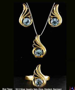 92.5 Silver, Thumbs shape Gold Plated Jewelry Set (Ring,Pendant,Earrings),Blue Topaz