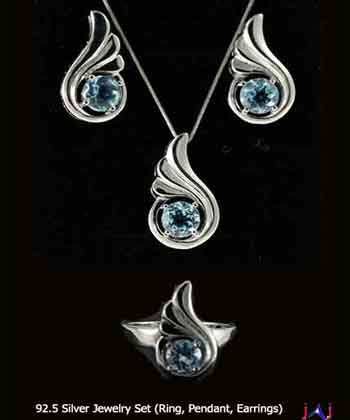 92.5 Silver, Thumbs shape Silver Plated Jewelry Set (Ring,Pendant,Earrings),Blue Topaz