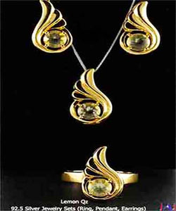 92.5 Silver, Thumbs shape Gold Plated Jewelry Set (Ring,Pendant,Earrings),Lemon Quartz