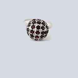 Ring,92.5 Silver Plated Golf Ball Ring with Garnet Gemstones
