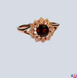Ring,92.5 Silver Flower Ring- Rose Gold Plated, Garnet Gemstone