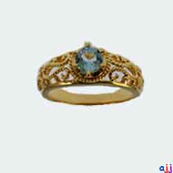 Ring,92.5 Silver Classic Ring- Gold Plated, Blue Topaz Gemstone