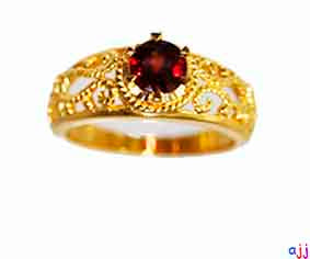 Ring,92.5 Silver Classic Ring- Gold Plated,  Garnet Gemstone