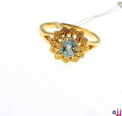 Ring,92.5 Silver Flower Ring- Gold Plated, Blue Topaz Gemstone