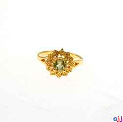 Ring,92.5 Silver Flower Ring- Gold Plated, Lemon Quartz Buff Top Gemstone