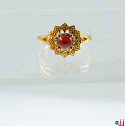 Ring,92.5 Silver Flower Ring- Gold Plated, Cabochon Garnet Gemstone