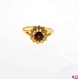 Ring,92.5 Silver Flower Ring- Gold Plated, Garnet Gemstone