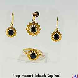 92.5 Silver, Flower Gold Plated Jewelry Set (Ring,Pendant,Earrings),Top Facet Black Spinel