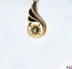 Pendant,92.5 Silver  Thumbs Up Pendant, Lemon Quartz Gemstone- Gold Plated