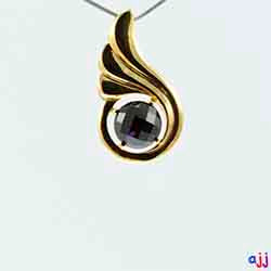 Pendant,92.5 Silver Thumbs Up Pendant- Gold Plated, Checkered Board Black Spinel  Gemstone