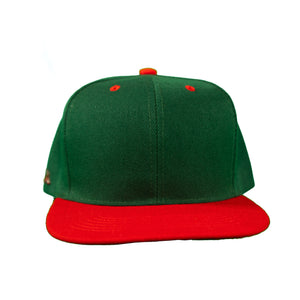 Basic Two-Tone Snap Back in Green And Red
